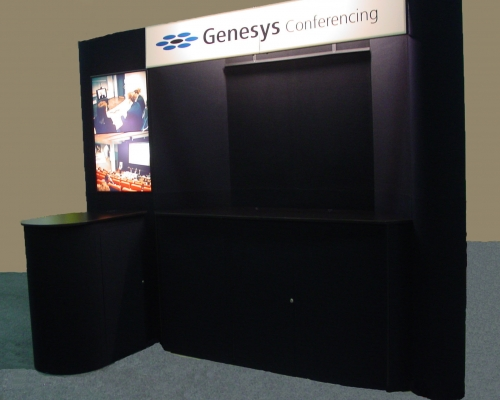 Pre-owned exhibits: 10x10 black portable panel exhibit with light box, counter and header