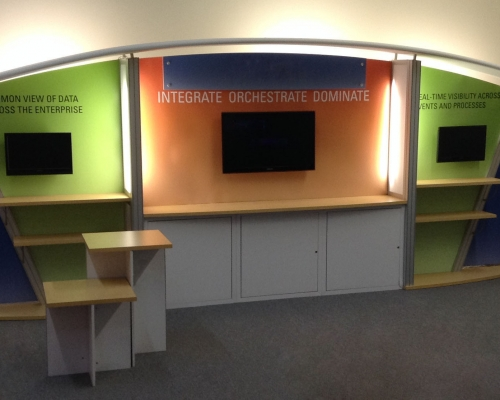 Pre-owned exhibits: 10x20 custom modular exhibit with storage, shelves, monitor mounts and counters