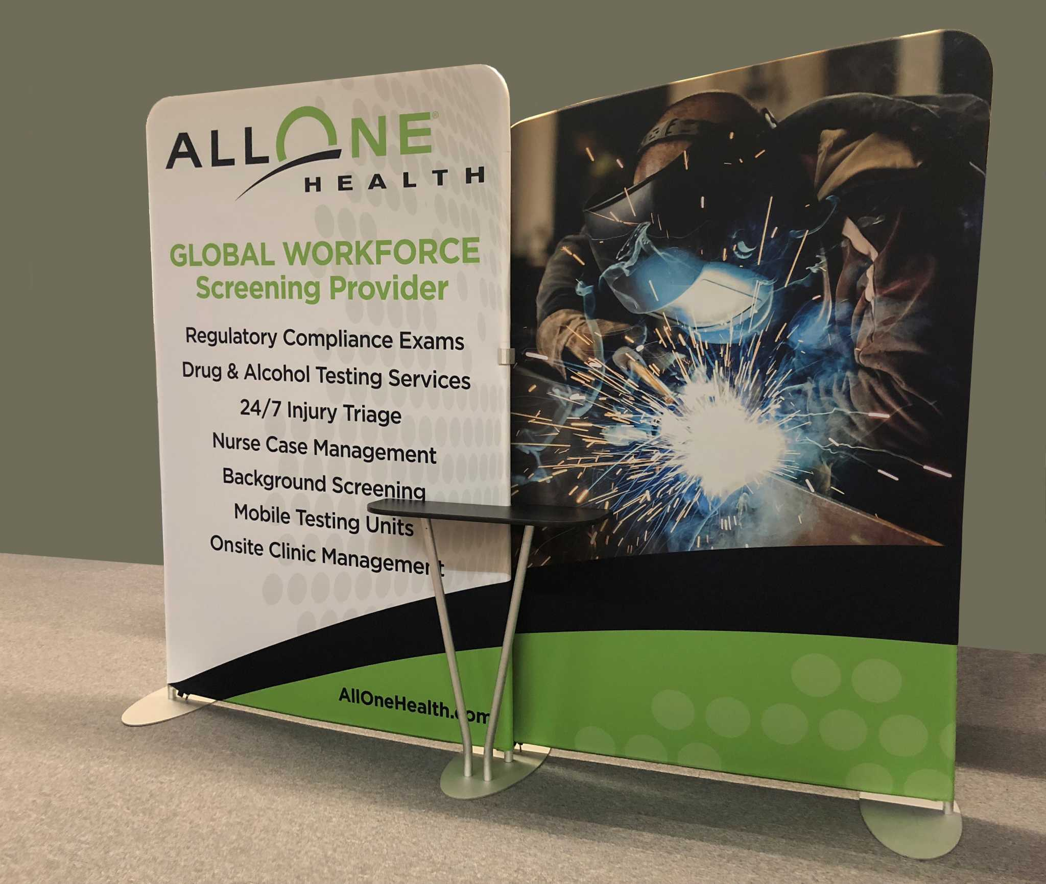 This 10x10 portable trade show display features slip on pillow case dye sub fabric graphic that slips over aluminum tubular frame and zips on bottom for easy set up.