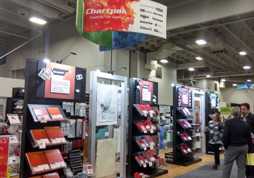 Chartpak island custom exhibit features custom slat walls to display products
