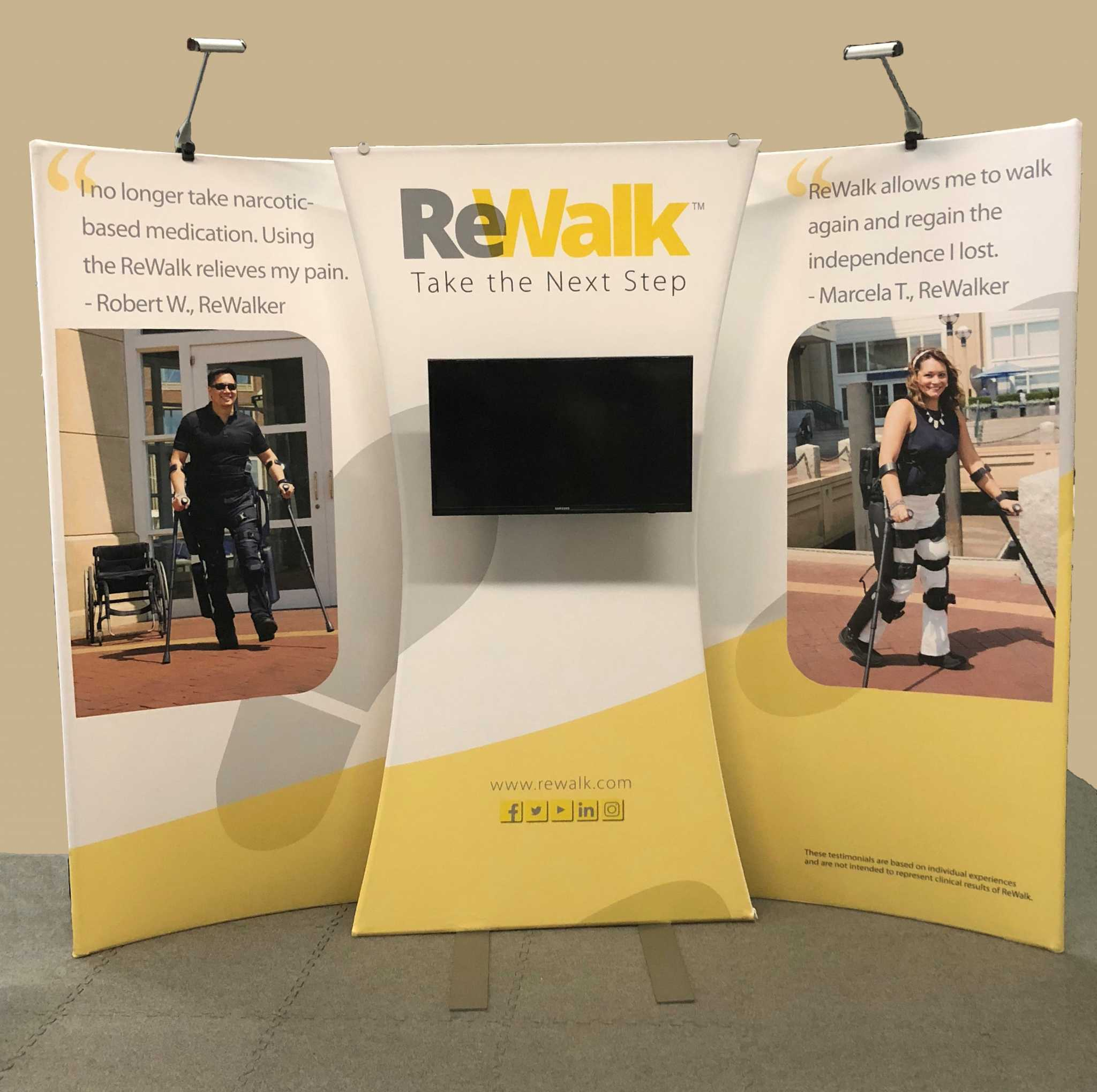 ReWalk portable trade show display with monitor and LED lights