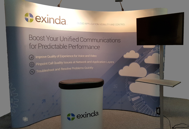 Exinda portable 10' pop-up display with monitor stand, and case that converts to counter with wraparound graphic