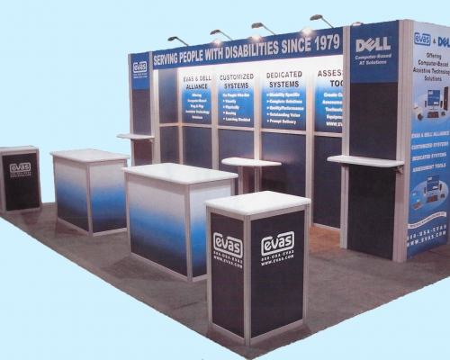 Velocity, 20ft x 20ft custom modular exhibit, blue and silver laminate with aluminum extrusions, includes monitors, locking counters, shelves, halogen lights and flooring. Reconfigurable to a 10ft x 20ft or 10ft x 40ft display. Excellent condition.